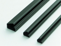 Various sizes of black cable raceways