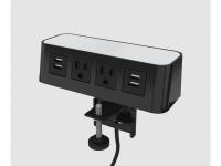 Burele edge mount 1 usb 2 power 1 usb 120 Inch cord black white top bur-em-1u2p1u-120-bkwh