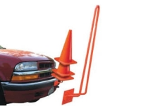 Vehicle mounted traffic cone holder