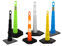 Multiple Grip n Go traffic channelizer cones with 42 inch height
