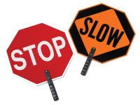 Cortina stop slow hand held traffic sign with 18-24 inch with plastic aluminum sign 9 inch polygrip handle no sheeting