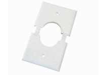 White single gang split-port wall plate, ml1gs-wh