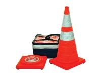 Pop-up safety cones, orange w/silver banner