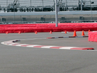 Rubberform red and white rubber race track curbing