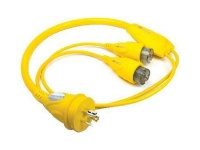 Furrion powersmart marine safety yellow Y-adapter for 2 x 15A female to 30A male.