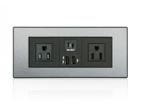 Black brushed aluminum powerhub USB in surface power and data grommet, ta-7535us-usn2-ba