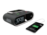 Black Ihome HWL83 alarm clock with usb charging phone