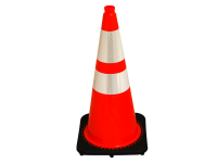 Traffic cone, black base/ orange with double reflective collars