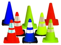 jbc traffic cones in different colors and sizes with black base