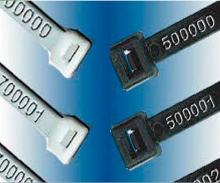 custom marked cable ties with hot stamped numbers on black and natural zip ties