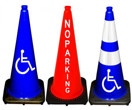 Custom marked traffic cones